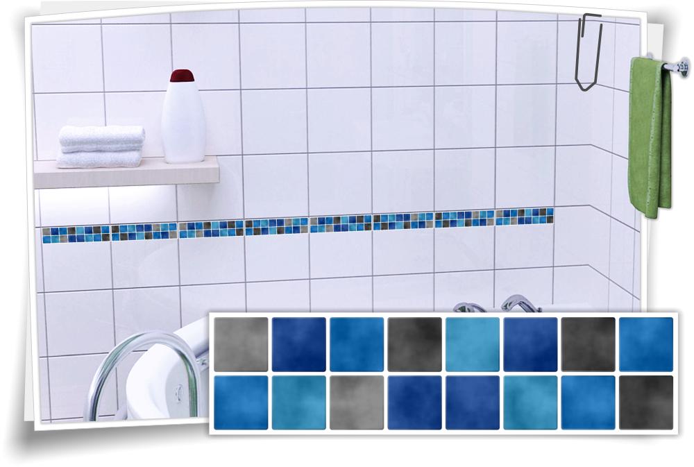 Bevorzugt Fliesenaufkleber Mosaik Fliesenbordüre Blau Grau – Medianlux-Shop GP81