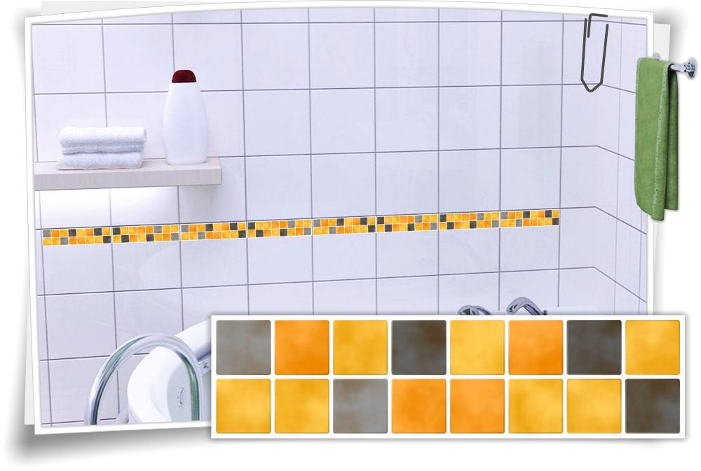 Fliesenaufkleber Mosaik Fliesenbordure Gelb Grau Medianlux Shop
