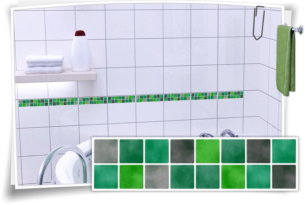 Fliesenaufkleber Mosaik Fliesenbordure Grun Grau Medianlux Shop