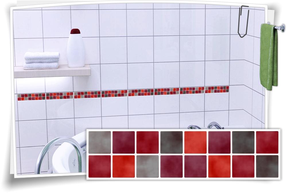 Fliesenaufkleber Mosaik Fliesenbordure Rot Grau Medianlux Shop
