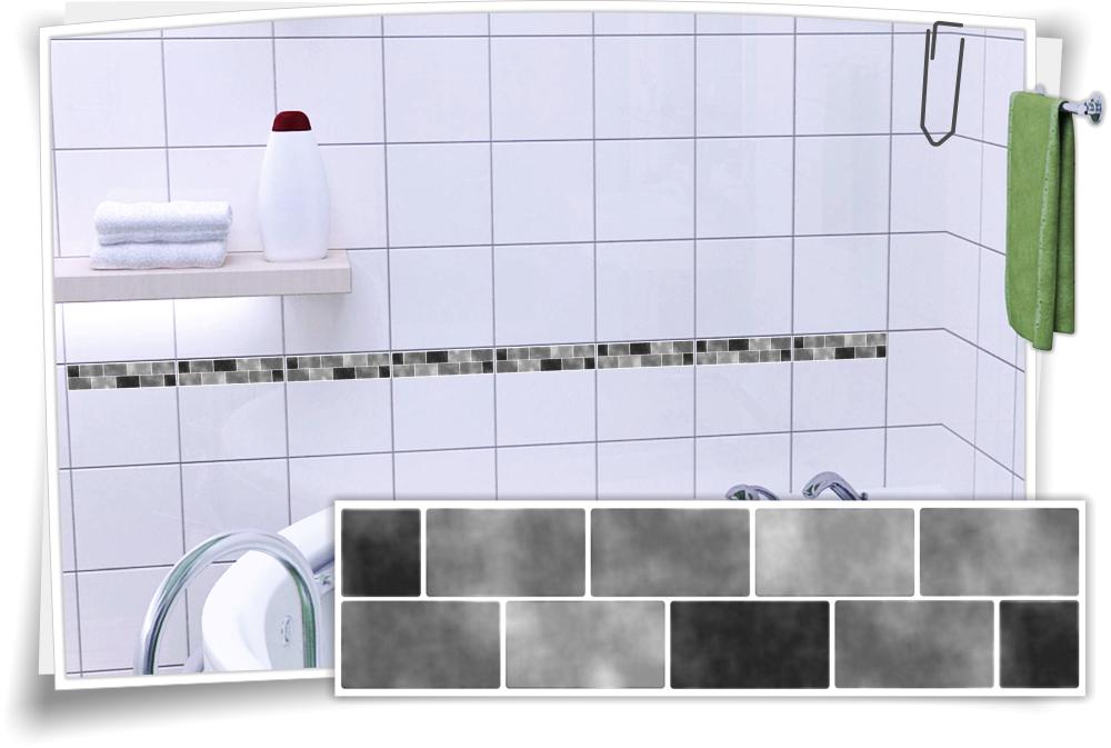 Fliesenaufkleber Mosaik Fliesenbordure Grau Medianlux Shop