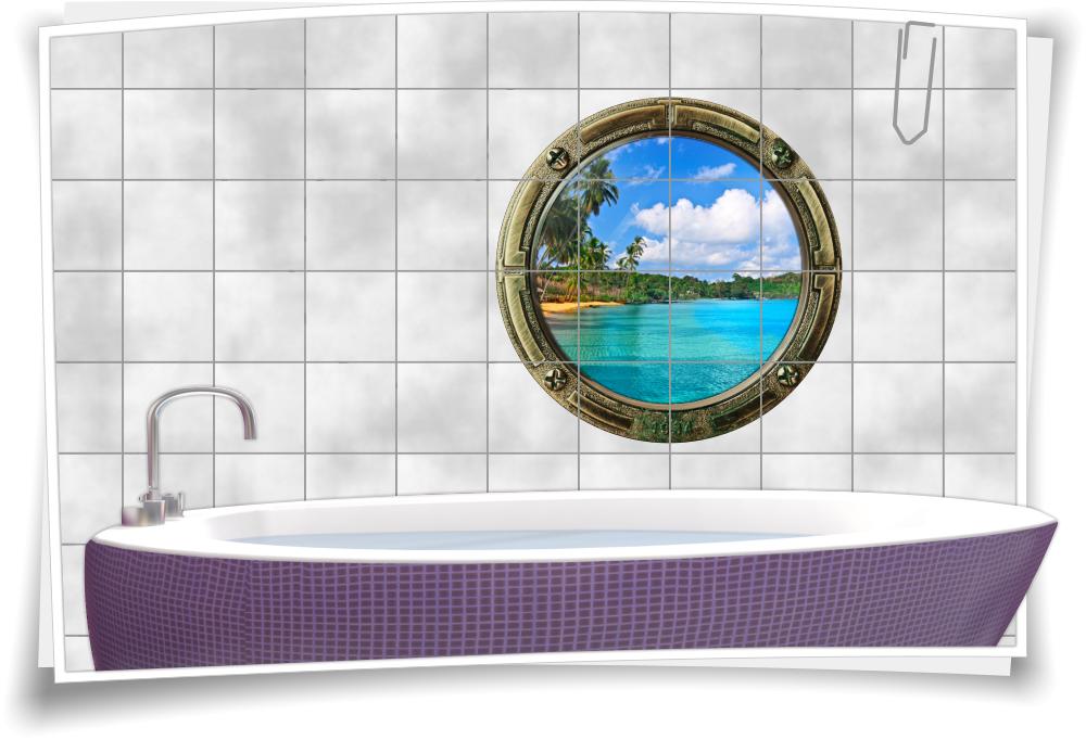 Fliesenaufkleber Badezimmer.Fliesenbild Meer Badezimmer Bullauge Strand Wasser Fliesen