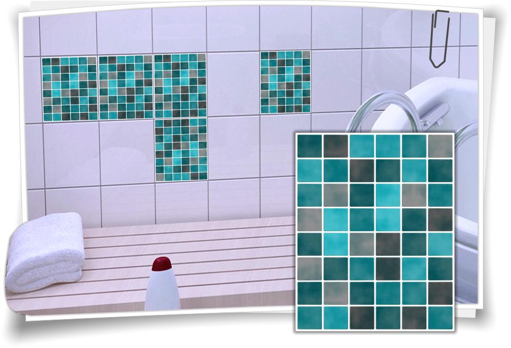 fliesenaufkleber mosaik t rkis schwarz medianlux shop. Black Bedroom Furniture Sets. Home Design Ideas