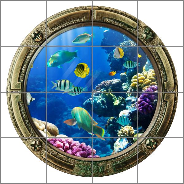 fliesenaufkleber fliesenbild fliesen bullauge fische wasser meer aquarium bad ebay. Black Bedroom Furniture Sets. Home Design Ideas