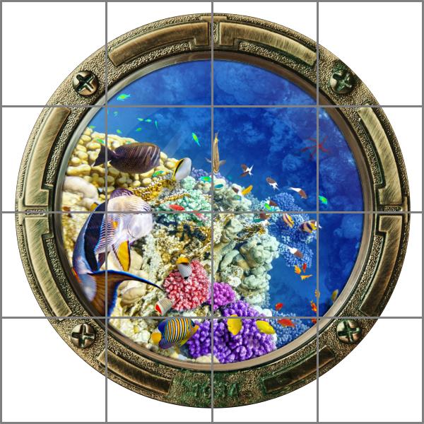 Fliesenaufkleber fliesenbild fliesen bullauge fische wasser meer aquarium bad - Fliesenaufkleber fische ...