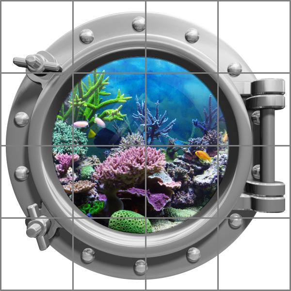 Bullauge wasser meer fische aquarium medianlux shop - Fliesenaufkleber fische ...