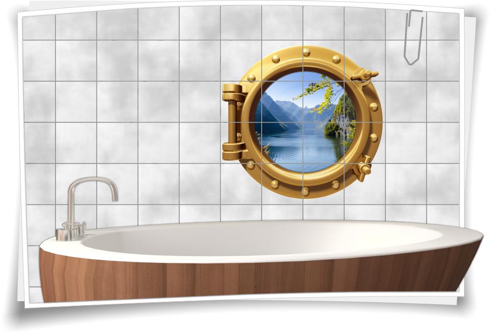fliesenaufkleber fliesenbild fliesen bullauge wasser see berge aufkleber bad ebay. Black Bedroom Furniture Sets. Home Design Ideas