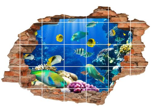 Fliesenaufkleber Fliesenbild Wanddurchbruch Unterwasserwelt Fische Korallenriff