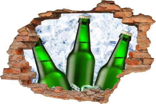 3D Wanddurchbruch Wandbild Wandaufkleber Sticker Party Bier Bierflaschen Beer