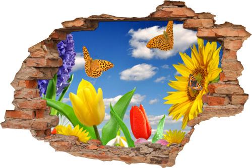 Wandbild Aufkleber Wanddurchbruch Wiese Blumen Schmetterling