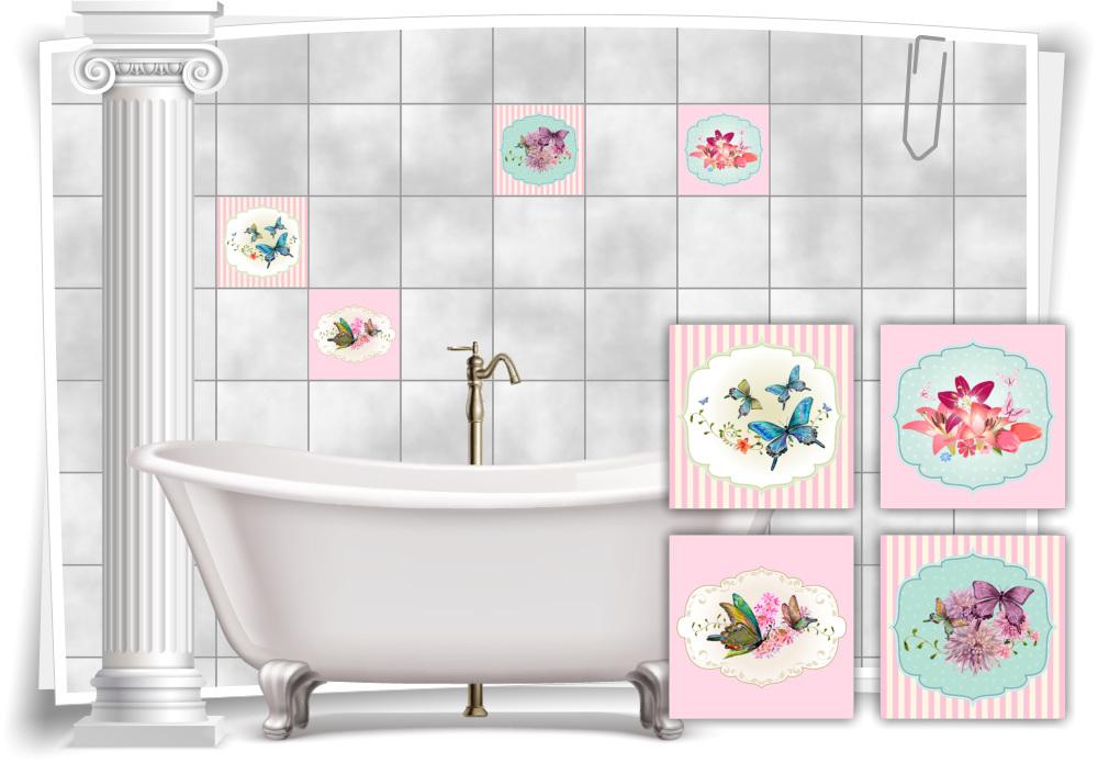 Fliesen-Aufkleber Vintage Nostalgie Retro Schmetterlinge Lilien Blumen Bad  WC Deko