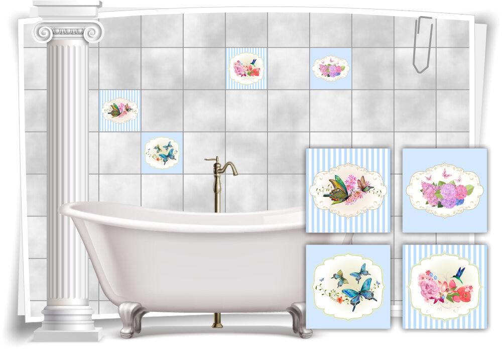Fliesen-Aufkleber Vintage Nostalgie Retro Schmetterlinge Vögel Blumen  Pastell-Blau Bad WC Deko