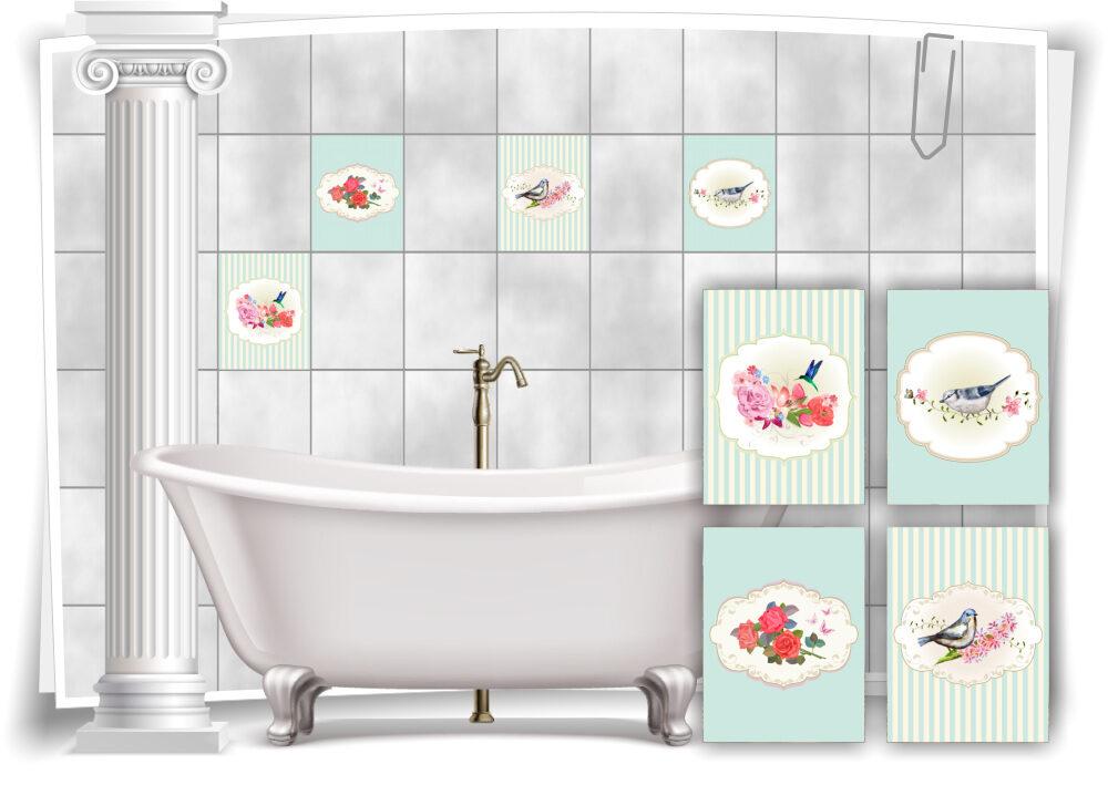 Fliesen Aufkleber Vintage Nostalgie Retro Schmetterlinge Vogel Blumen Pastell Grun Bad Wc Deko Medianlux Shop