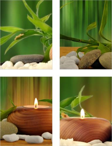 Fliesenaufkleber Fliesenbild Bambus Kerzen Aufkleber SPA Wellness Dekoration Bad