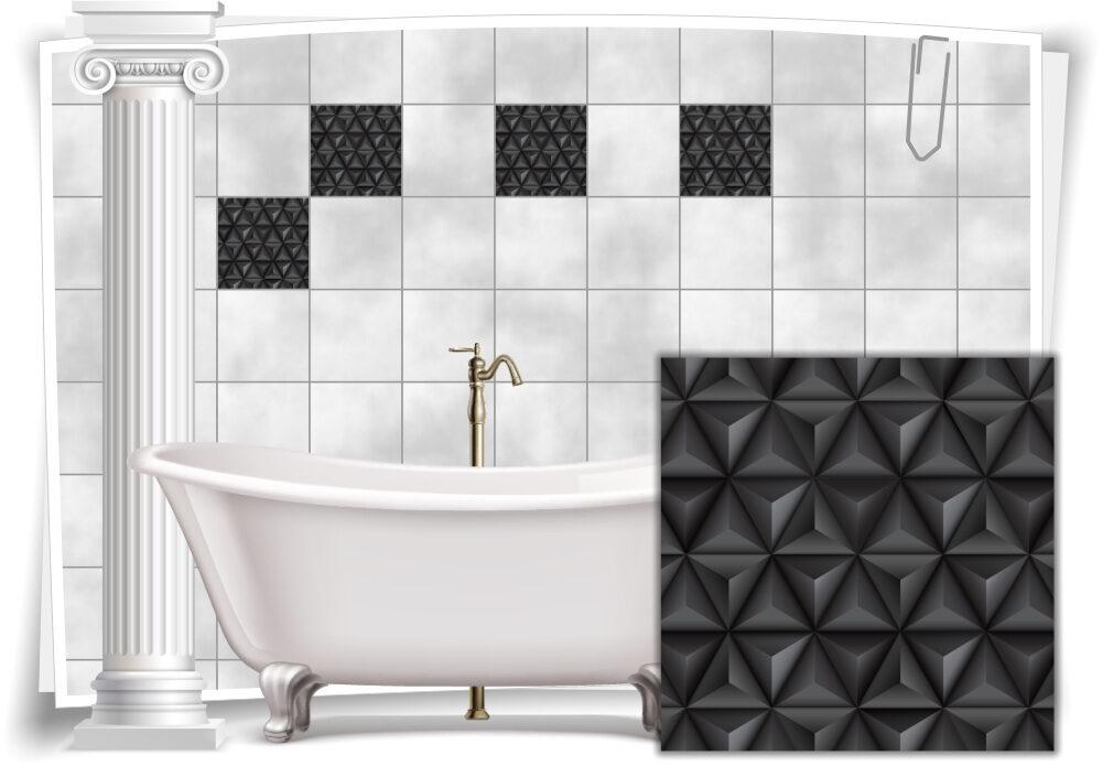 Fliesen-Aufkleber Bild Mosaik Kachel Grau Schwarz Retro Dreiecke Bad WC Deko