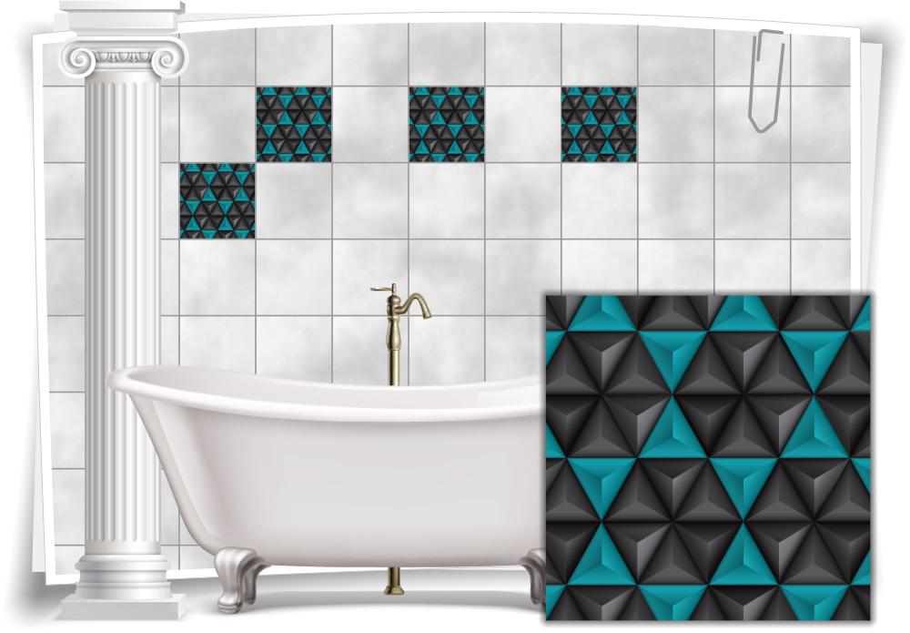 Fliesen Aufkleber Bild Mosaik Kachel Turkis Schwarz Retro Dreiecke Bad Wc Deko Medianlux Shop