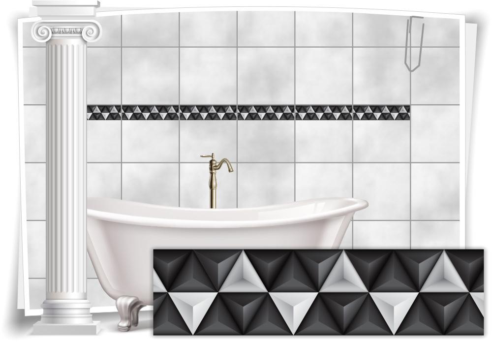 Fliesenaufkleber Fliesen Aufkleber Mosaik Kachel Grau Weiss Bad WC Küche