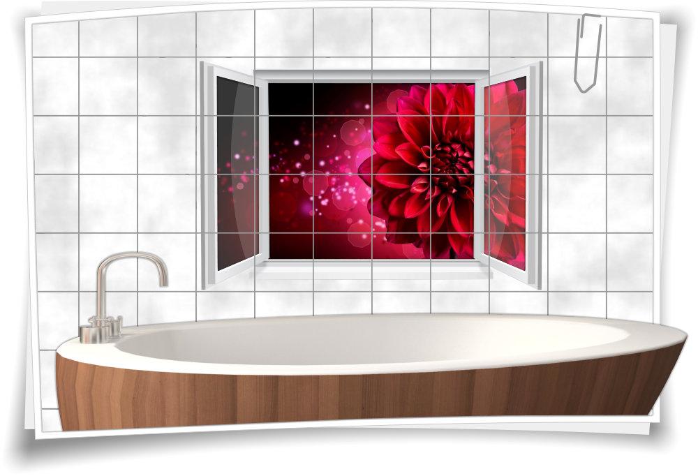Fliesenaufkleber Fliesenbild Fenster Dahlie Blume Rot Kuche Bad Wc