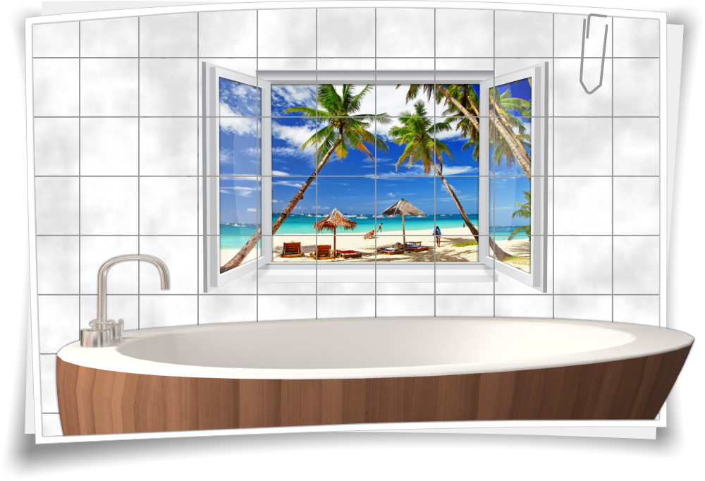 Fliesenaufkleber Fliesenbild Fliesen Meer Strand Palmen Urlaub Aufkleber Bad Wc Ebay