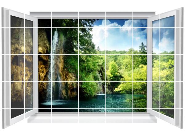 Fliesenaufkleber Fliesenbild Fenster Natur Wald Wasser Wasserfall