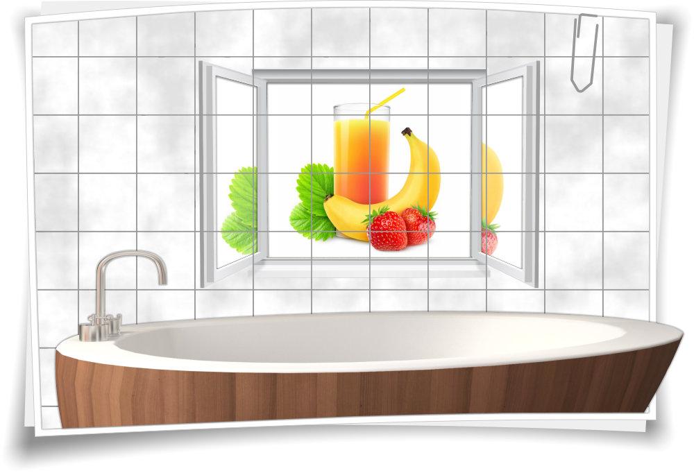 Fliesenbilder Küche | Fliesenaufkleber Fliesenbild Fenster Saft Fruchte Getrank Kuche Bad