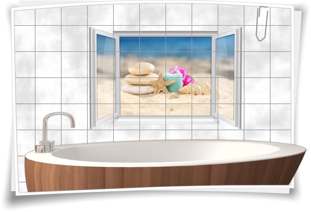 Bad Mit Steine 2 | Fliesenaufkleber Fliesenbild Fenster Wellness Sand Kerze Muschel