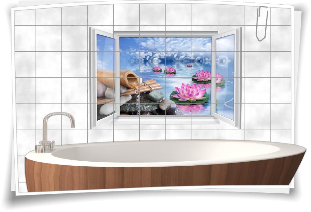 Fliesenaufkleber Fliesenbild Fenster Wellness Spa Wasserlilie Bambus