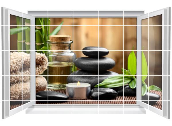 Fliesenaufkleber Fliesenbild Fenster ZEN SPA Wellness