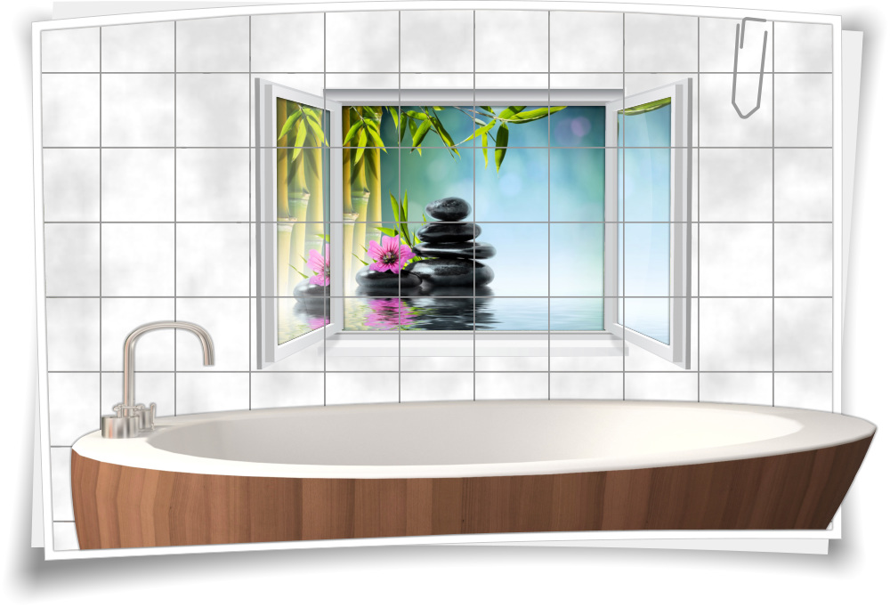 Fliesenaufkleber Fliesenbild Fenster Zen Wellness Spa Bambus Bad Wc