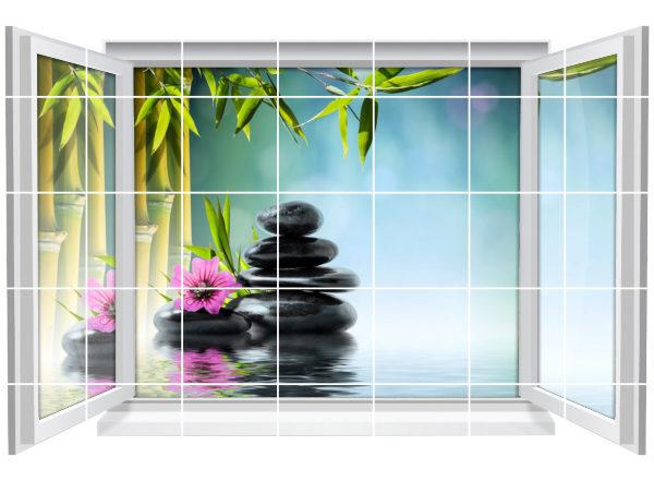Fliesenaufkleber Fliesenbild Fenster Zen Wellness Spa Bambus Bad Wc