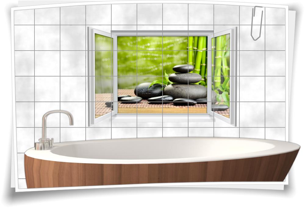Fliesenaufkleber Fliesenbild Fenster ZEN Wellness SPA Bambus Steine Bad WC  Küche Fliesen Deko
