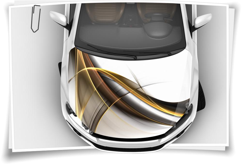 Gold Modern Linien Abstrakt Motorhaube Auto Aufkleber Steinschlag Schutz Folie Airbrush Tuning