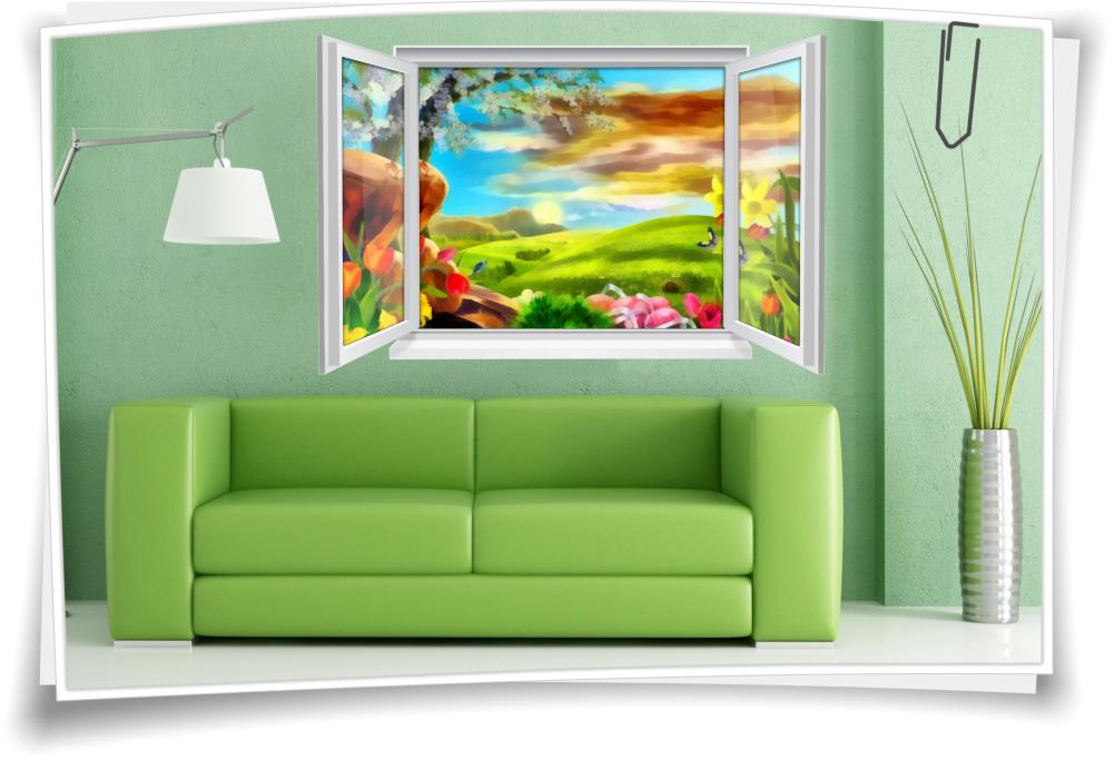 Wandtattoo Wandbild Fenster Gemälde Landschaft Natur Wohnzimmer