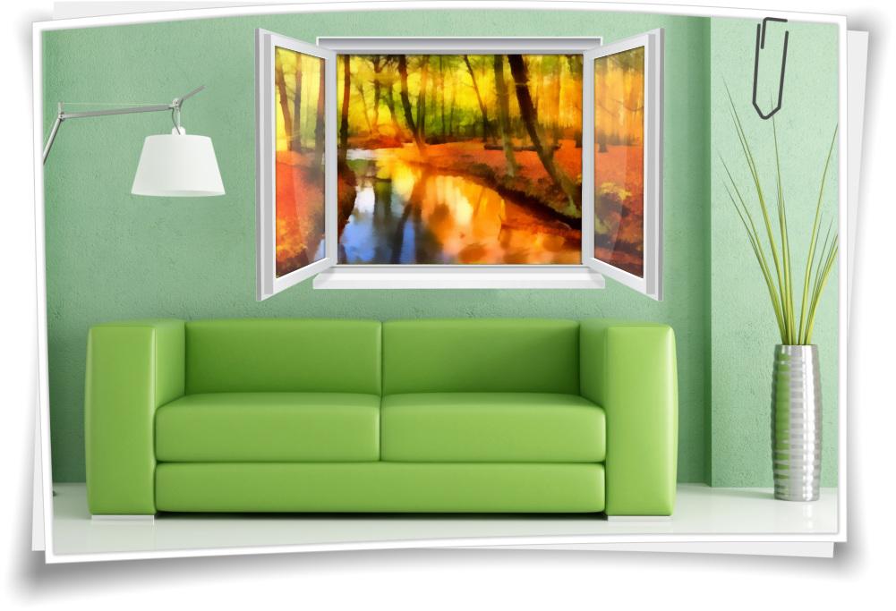 Wandtattoo Wandbild Fenster Herbst Wald Bach Abstrakt Gemälde Wohnzimmer  Deko