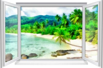 Wandtattoo Wandbild Fenster Insel Strand Abstrakt Gemälde Wohnzimmer Deko