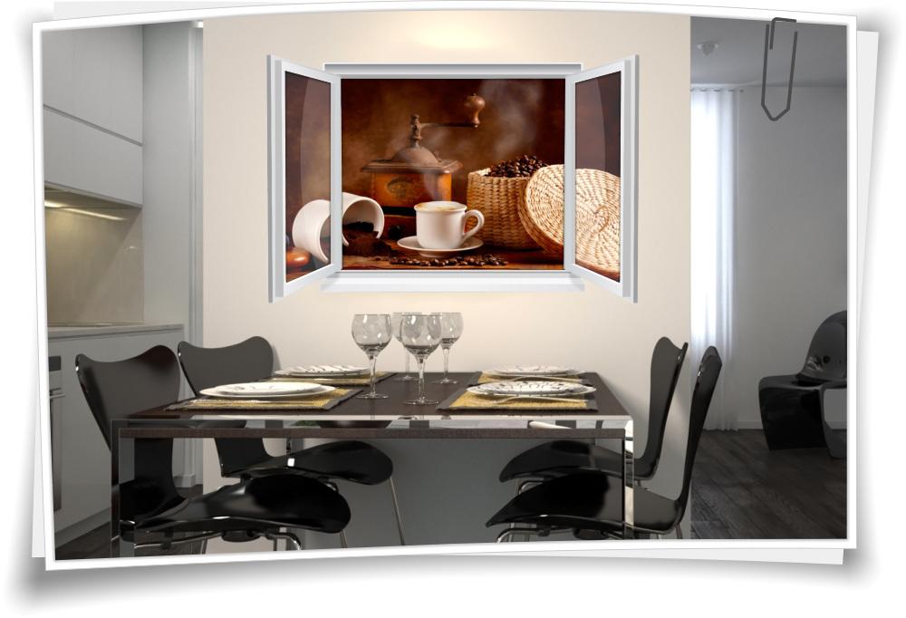 Wandtattoo Wandbild Fenster Kaffee Mühle Tasse Bohnen Wohnzimmer ...