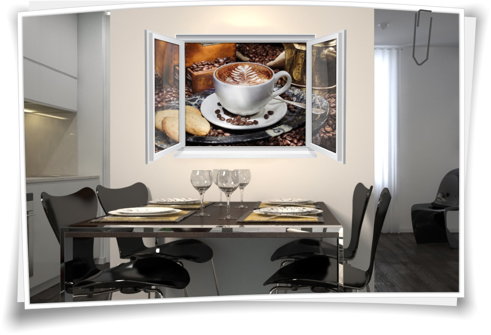 Wandtattoo Wandbild Fenster Kaffee Tasse Bohnen Geback Wohnzimmer