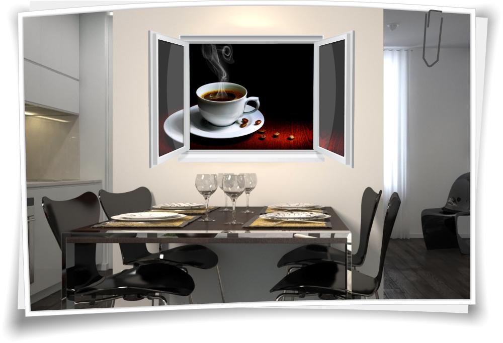 Wandtattoo Wandbild Fenster Kaffee Tasse Bohnen Wohnzimmer Küche ...