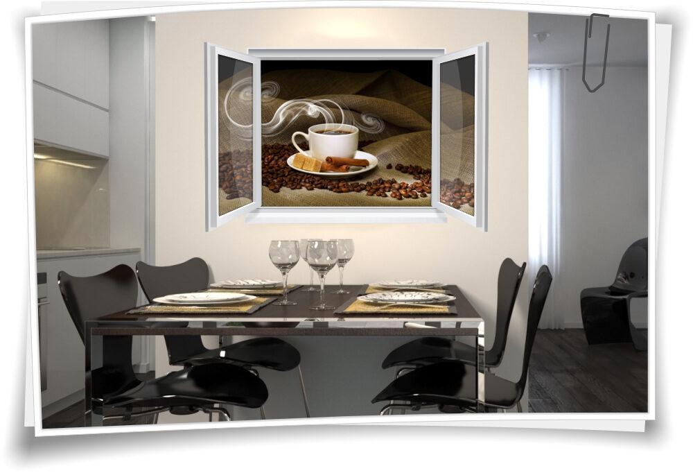 Wandtattoo Wandbild Fenster Kaffee Tasse Jute Bohnen Wohnzimmer ...