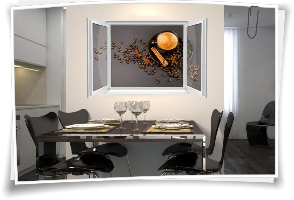 Wandtattoo Wandbild Fenster Kaffee Tasse Zimt Bohnen Wohnzimmer Küche  Esszimmer Deko