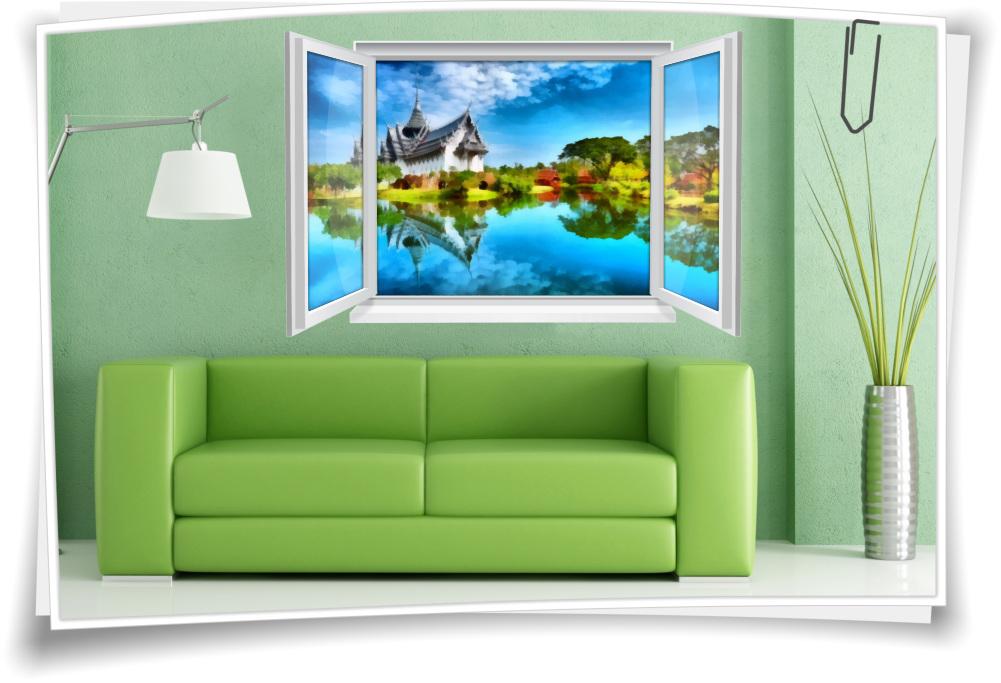Wandtattoo Wandbild Fenster Kloster Ufer Dorf Abstrakt Gemälde Wohnzimmer  Deko