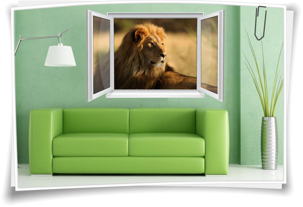 Wandtattoo Wandbild Fenster Löwe Afrika Savanne Wohnzimmer Deko ...