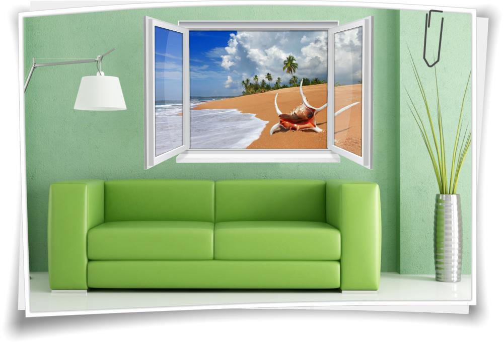 Wandtattoo Wandbild Fenster Meer Strand Muschel Urlaub
