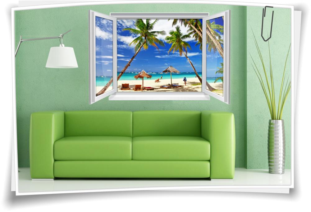 Wandtattoo Wandbild Fenster Meer Strand Palmen Urlaub