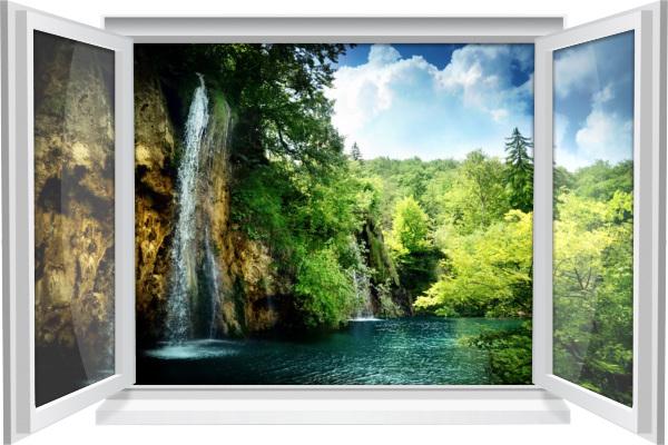 Wandtattoo Wandbild Fenster Natur Wald Wasser Wasserfall Wohnzimmer Deko