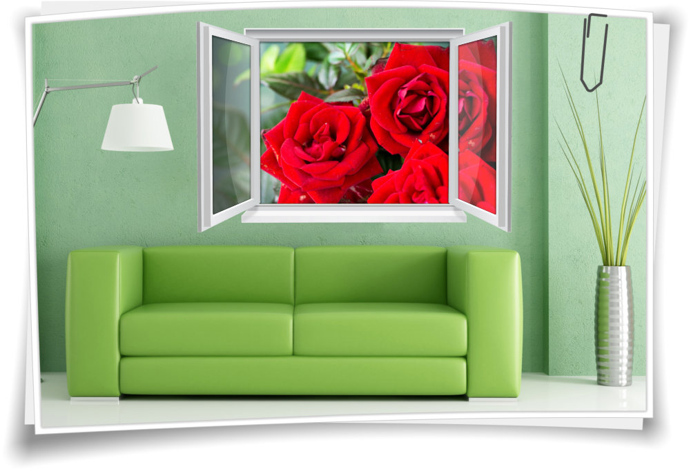 Wandtattoo Wandbild Fenster Rose Rosen Blumen Wohnzimmer Esszimmer Küche  Deko