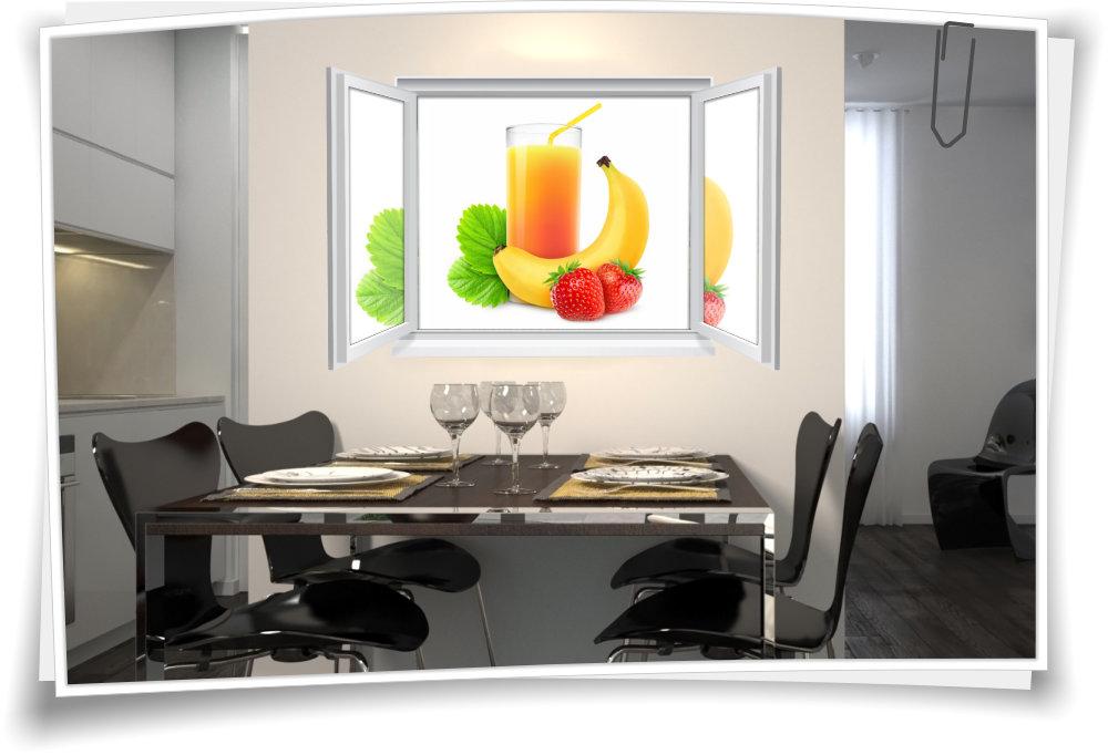 Wandtattoo Wandbild Fenster Saft Früchte Getränk Wohnzimmer Esszimmer Küche  Deko