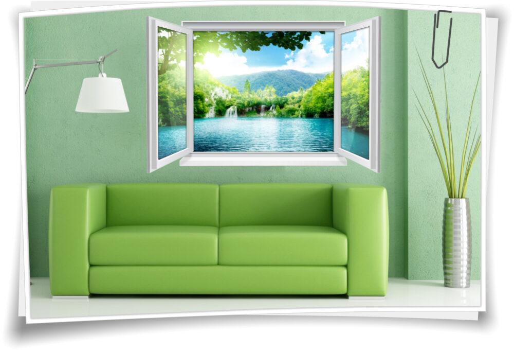 Wandtattoo Wandbild Fenster See Wasserfall Insel Wohnzimmer