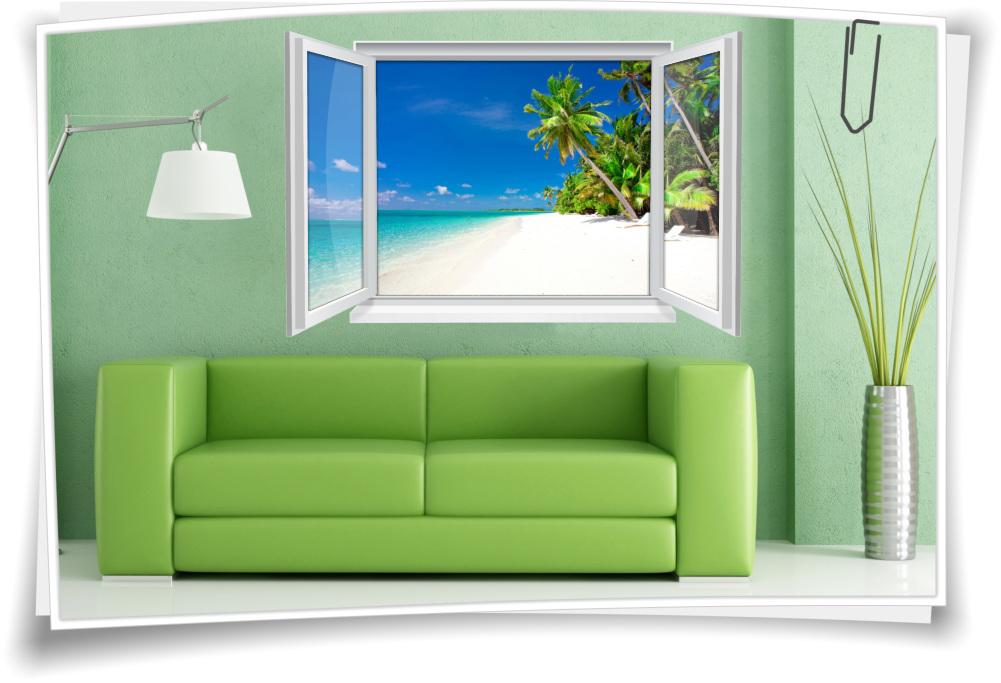 Wandtattoo Wandbild Fenster Strand Meer Palmen Wohnzimmer Deko