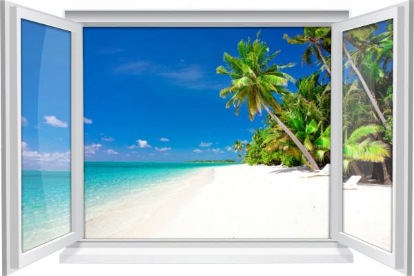 Wandtattoo Wandbild Fenster Strand Meer Palmen Wohnzimmer